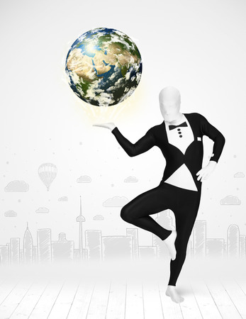 anonymity: Funny man in full body suit holding planet earth