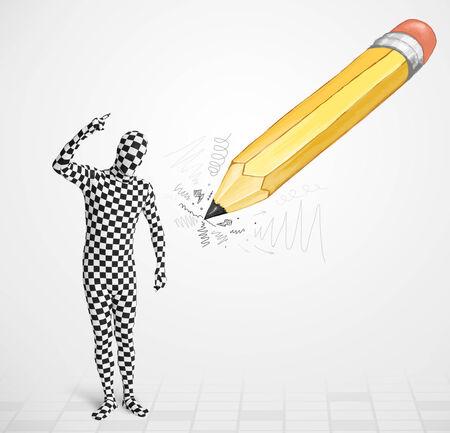 Guy dans le masque du corps avec un grand concept de crayon dessinés à la main