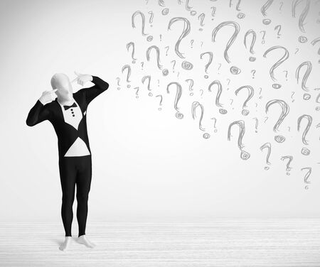 3d human character is body suit morphsuit looking at hand drawn question marks Stock Photo