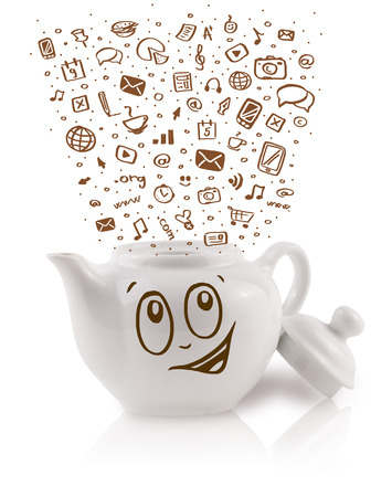 Coffe can with hand drawn media icons, isolated on white photo
