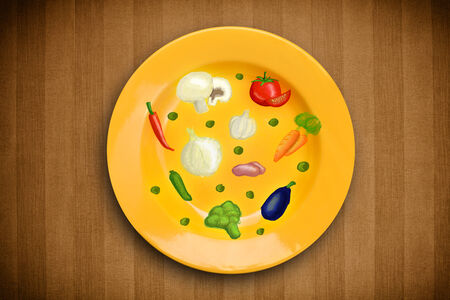 garlic bread: Colorful plate with hand drawn icons, symbols, vegetables and fruits on grungy background