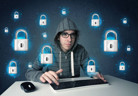 Young hacker with virtual lock symbols and icons on blue background photo