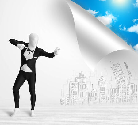 Funny man in body suit escaping from city to nature concept photo