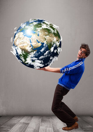save the sea: Good-looking young man holding 3d planet earth
