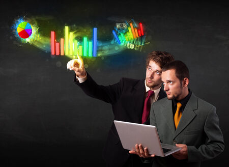 Business people touching colorful modern graph system concept  photo