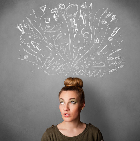pointed arrows: Pretty young woman with many sketched arrows pointed in different directions above her head Stock Photo
