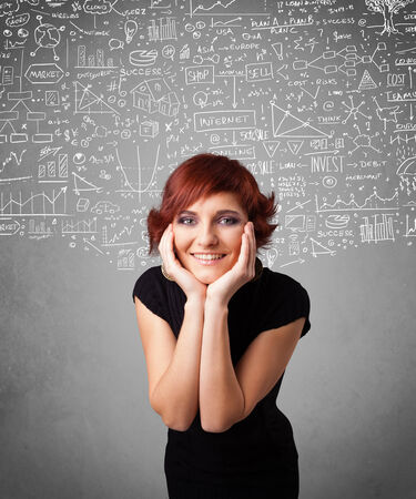 Young pretty lady with hand drawn white calculations and icons