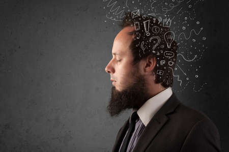 Young man thinking with white abstract lines and symbols photo