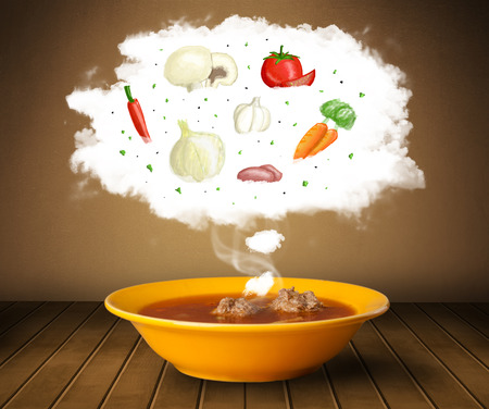 Bowl of soup with vegetable ingredients illustration in cloud on wood deck  illustration