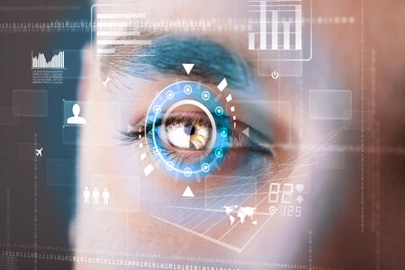 Futuristic modern cyber man with technology screen eye panel concept photo