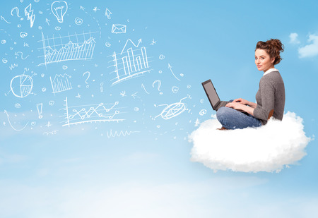 Pretty young woman sitting in cloud with laptop, charts concept photo
