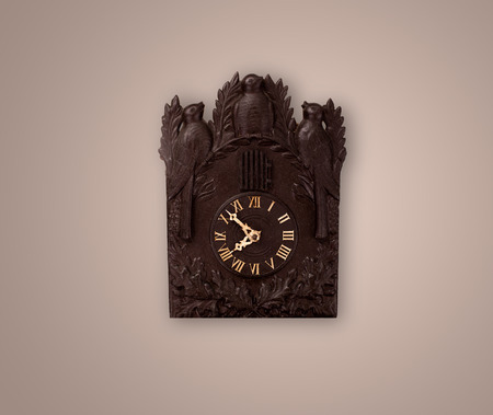 past midnight: Vintage old clock with showing preicse time on the wall