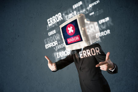 Business man with pc monitor on his head and error messages darker background photo
