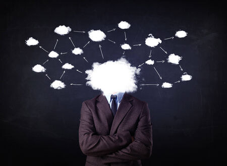 Business man with cloud network head on grungy background photo
