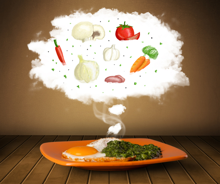 Plate of food with vegetable ingredients illustration in cloud on wood deck  illustration