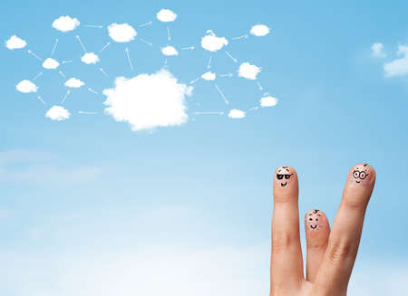 finger smiley faces on hand with cloud network system photo