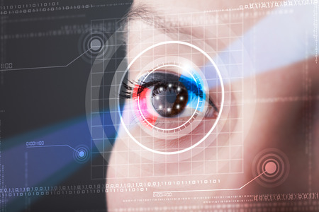 technolgy: Modern cyber woman with technolgy eye looking Stock Photo