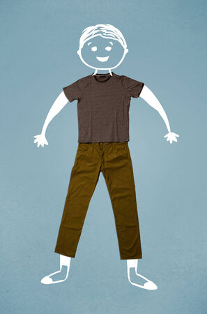 Funny cute smiley hand drawn character in casual clothes photo