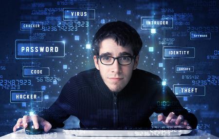 programing: Programaci�n Hacker en el ambiente de tecnolog�a con los iconos y s�mbolos cibern�ticos Foto de archivo
