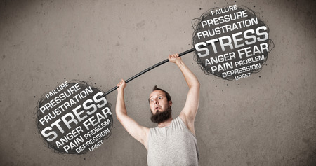 Funny skinny guy defeating stress photo