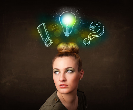 preety: Young preety teenager with hand drawn light bulb illustration
