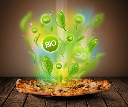 Healthy bio green plate of food on grungy background photo