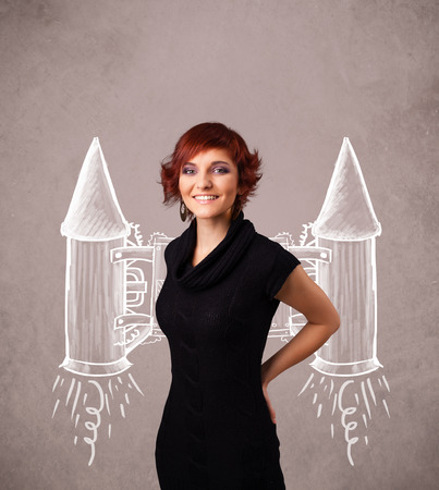 jetpack: Cute young girl with jet pack rocket drawing illustration