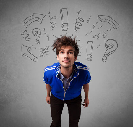 sketched arrows: Handsome man with question sign doodles on gradient background Stock Photo