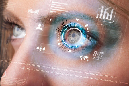 future vision: Future woman with cyber technology eye panel concept