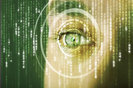ojos verdes: Soldado cibern�tico moderno con el concepto de los ojos de la matriz de destino
