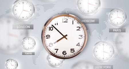time zones: Clocks and time zones over the world illustration concept