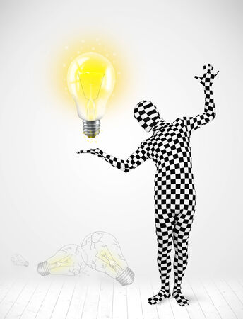 cartoon light bulb: Funny man in full body suit with glowing light bulb, new idea concept Stock Photo