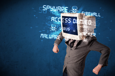 Monitor head person with hacker type of signs on the blue screen photo