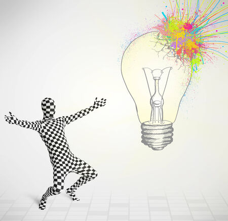 human character: 3d human character is body suit morphsuit looking at abstract colorful lightbulb Archivio Fotografico