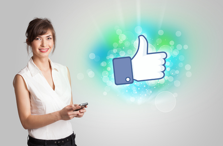 Young girl with like social media illustration concept