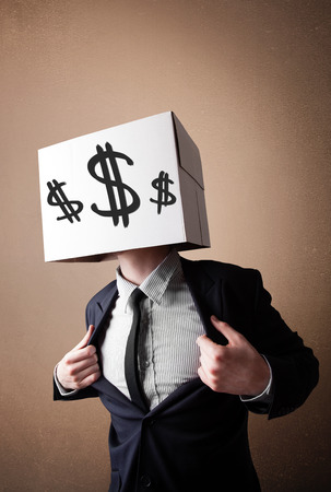 Businessman standing and gesturing with a cardboard box on his head with dollar signs Stock Photo - 29503114