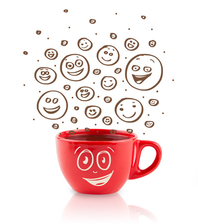 breakfast smiley face: Coffee-cup with brown hand drawn happy smiley faces, isolated on white