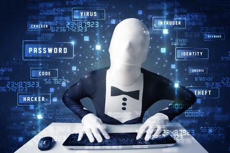 programing: Hombre sin programaci�n identidad en el ambiente de tecnolog�a con los iconos y s�mbolos cibern�ticos