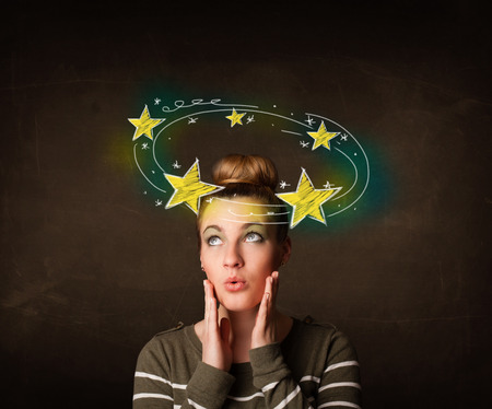dizzy: Young girl with yellow stars circleing around her head illustration