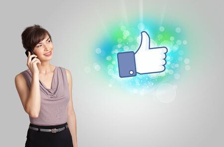Young girl with like social media illustration concept illustration