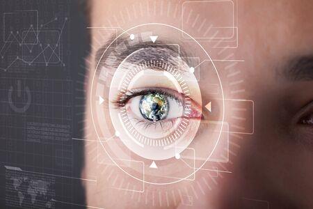 technolgy: Modern cyber man with technolgy eye looking