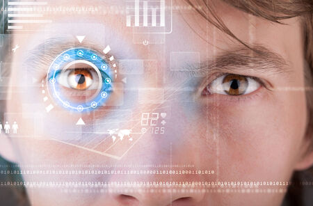 biometric: Futuristic modern cyber man with technology screen eye panel concept Stock Photo