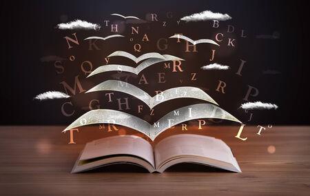 ページとウッドデッキの本飛び出して輝く文字