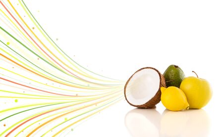 Healthy tropical fruits with colorful abstract lines on white background photo