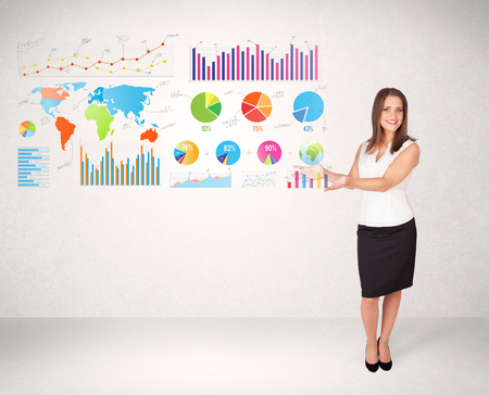 infomation: Business woman with colorful graphs and charts concepts