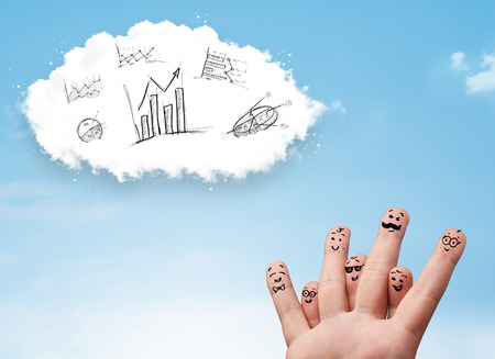 infomation: Happy cheerful smiley fingers looking at cloud with hand drawn charts Stock Photo