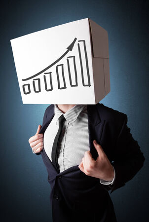 boxy: Businessman standing and gesturing with a cardboard box on his head with diagram