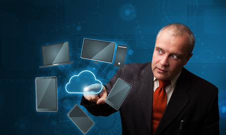 wireles: Businessman standing and touching high technology cloud service