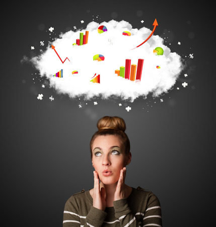 Thoughtful young woman with cloud and charts concept photo