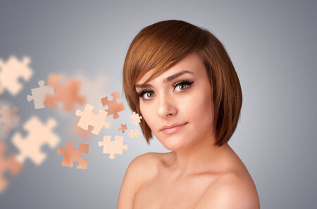 Pretty young girl with skin puzzle illustration on gradient background illustration